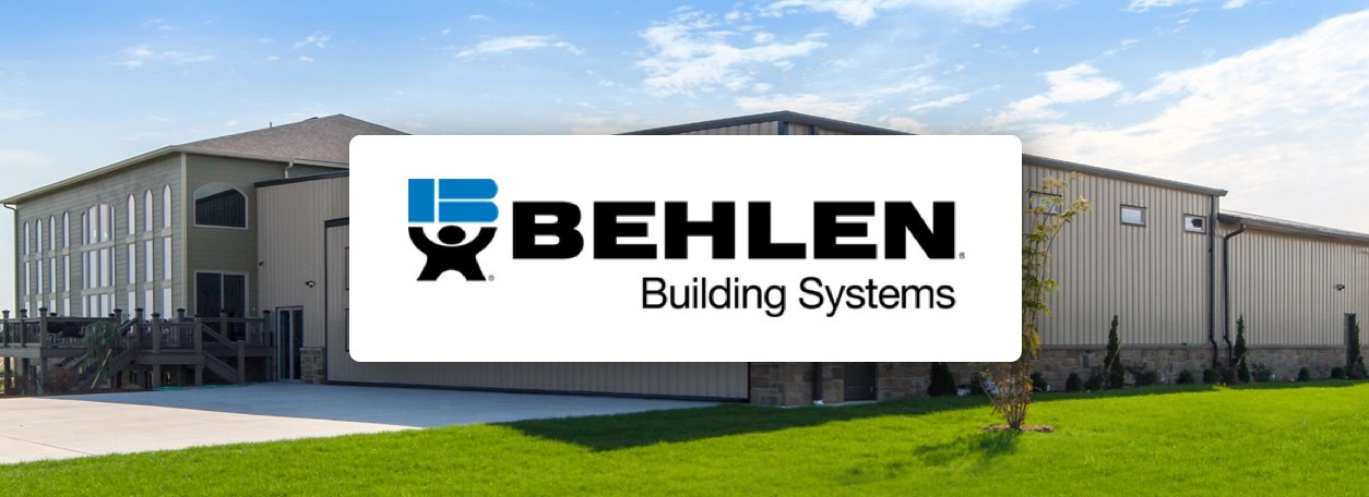 Behlen Building Systems logo with building in background