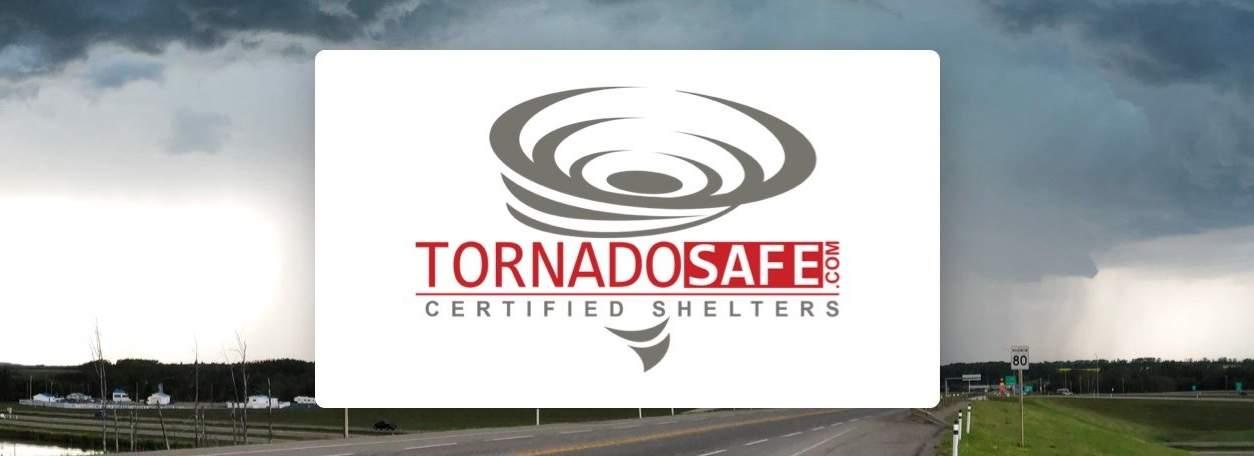 Tornado Safe logo with storm in babckground
