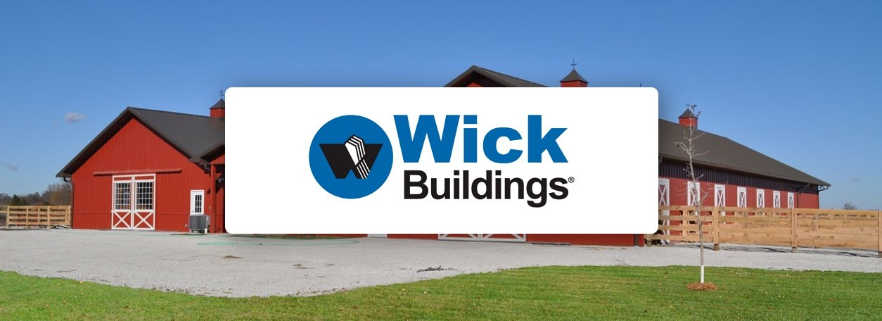 Wick Buildings logo with barn building in background